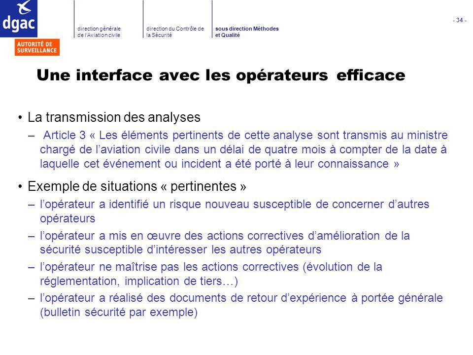 - 34 - direction générale de lAviation civile direction du Contrôle de la Sécurité sous direction Méthodes et Qualité Une interface avec les opérateur