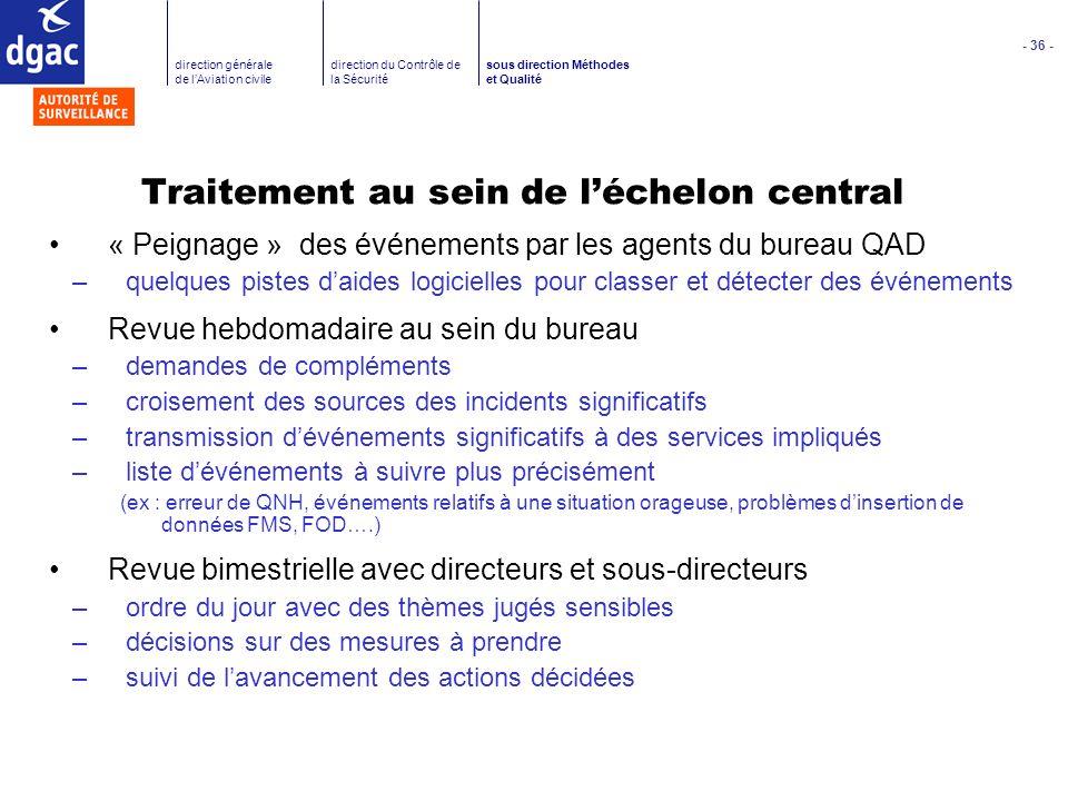 - 36 - direction générale de lAviation civile direction du Contrôle de la Sécurité sous direction Méthodes et Qualité Traitement au sein de léchelon c