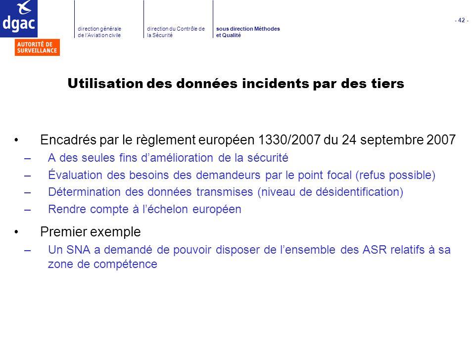 - 42 - direction générale de lAviation civile direction du Contrôle de la Sécurité sous direction Méthodes et Qualité Utilisation des données incident