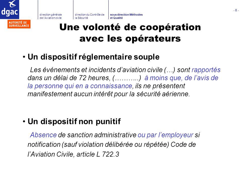 - 8 - direction générale de lAviation civile direction du Contrôle de la Sécurité sous direction Méthodes et Qualité Une volonté de coopération avec l