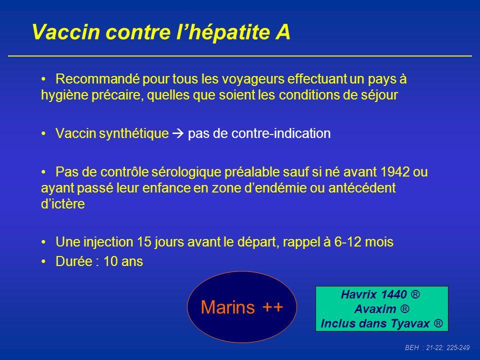 Vaccin contre lhépatite A Recommandé pour tous les voyageurs effectuant un pays à hygiène précaire, quelles que soient les conditions de séjour Vaccin