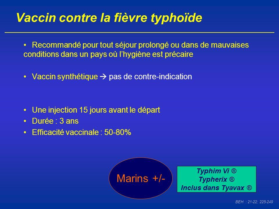 Vaccin contre la fièvre typhoïde Recommandé pour tout séjour prolongé ou dans de mauvaises conditions dans un pays où lhygiène est précaire Vaccin syn