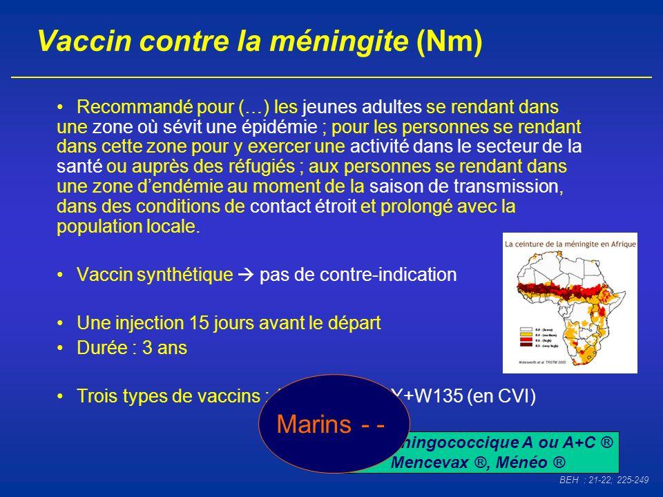 Vaccin contre la méningite (Nm) Recommandé pour (…) les jeunes adultes se rendant dans une zone où sévit une épidémie ; pour les personnes se rendant