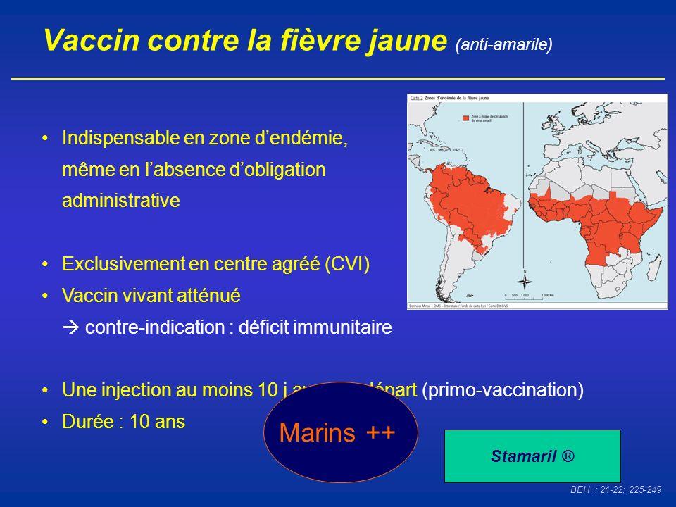 Vaccin contre la fièvre jaune (anti-amarile) Indispensable en zone dendémie, même en labsence dobligation administrative Exclusivement en centre agréé
