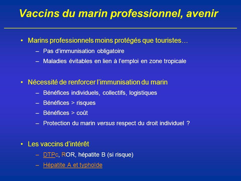 Vaccins du marin professionnel, avenir Marins professionnels moins protégés que touristes… –Pas dimmunisation obligatoire –Maladies évitables en lien
