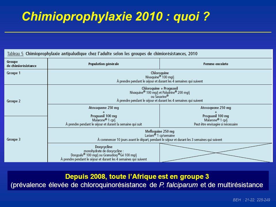 Chimioprophylaxie 2010 : quoi ? Depuis 2008, toute lAfrique est en groupe 3 (prévalence élevée de chloroquinorésistance de P. falciparum et de multiré
