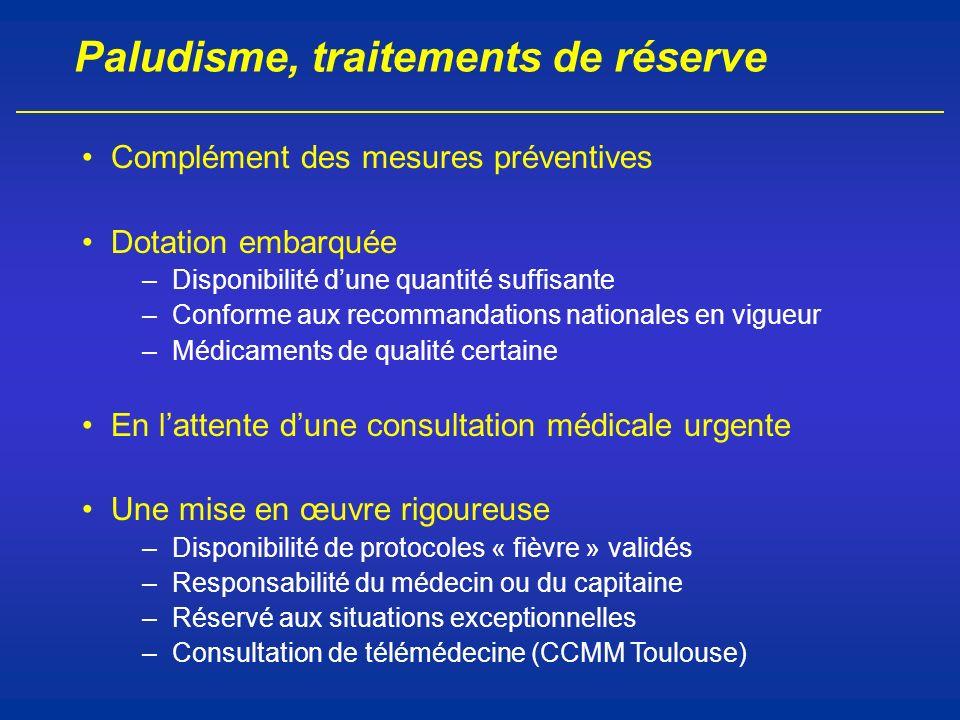 Paludisme, traitements de réserve Complément des mesures préventives Dotation embarquée –Disponibilité dune quantité suffisante –Conforme aux recomman