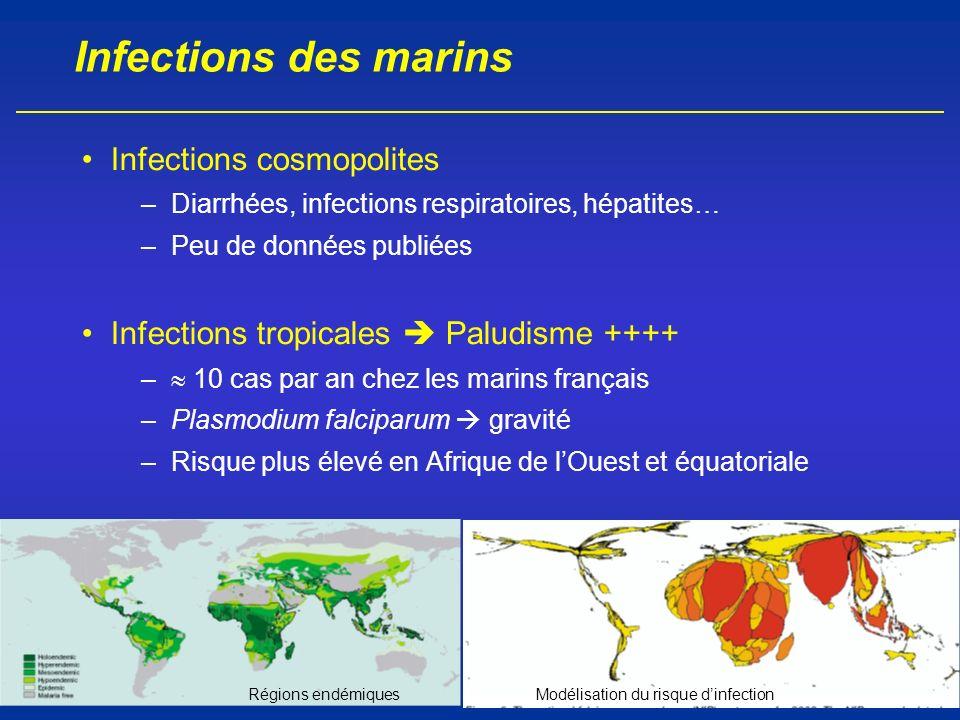 Infections des marins Infections cosmopolites –Diarrhées, infections respiratoires, hépatites… –Peu de données publiées Infections tropicales Paludism