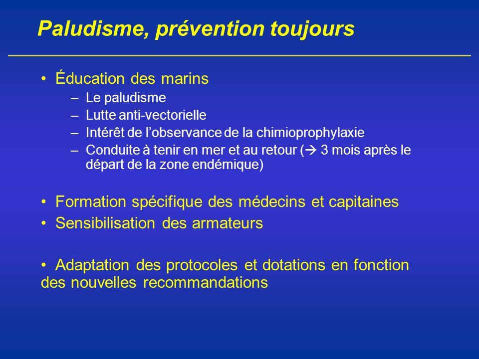 Paludisme, prévention toujours Éducation des marins –Le paludisme –Lutte anti-vectorielle –Intérêt de lobservance de la chimioprophylaxie –Conduite à
