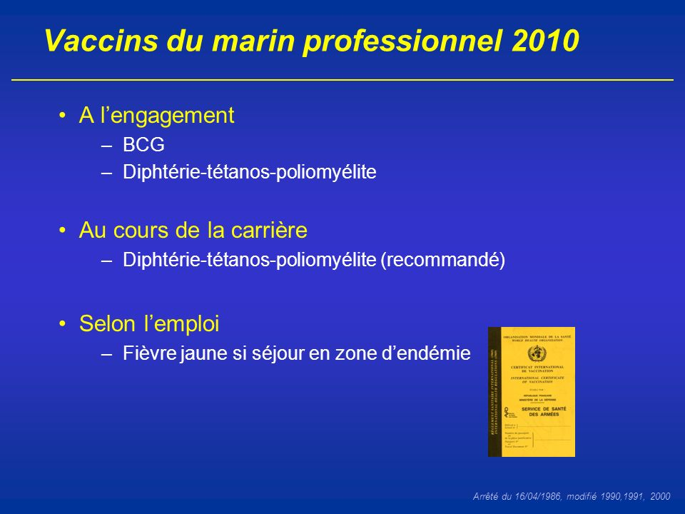 Calendrier vaccinal France 2010, adulte Document INPES