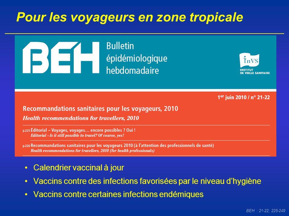 Pour les voyageurs en zone tropicale BEH : 21-22; 225-249 Calendrier vaccinal à jour Vaccins contre des infections favorisées par le niveau dhygiène V