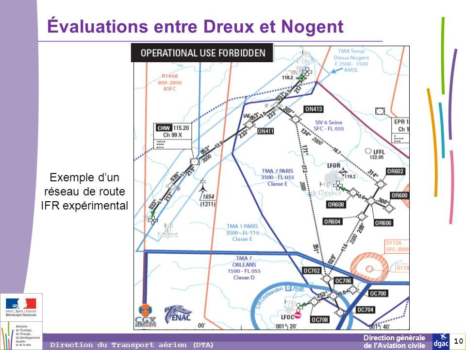 10 1010 Direction générale de lAviation civile Direction du Transport aérien (DTA) Évaluations entre Dreux et Nogent Exemple dun réseau de route IFR e