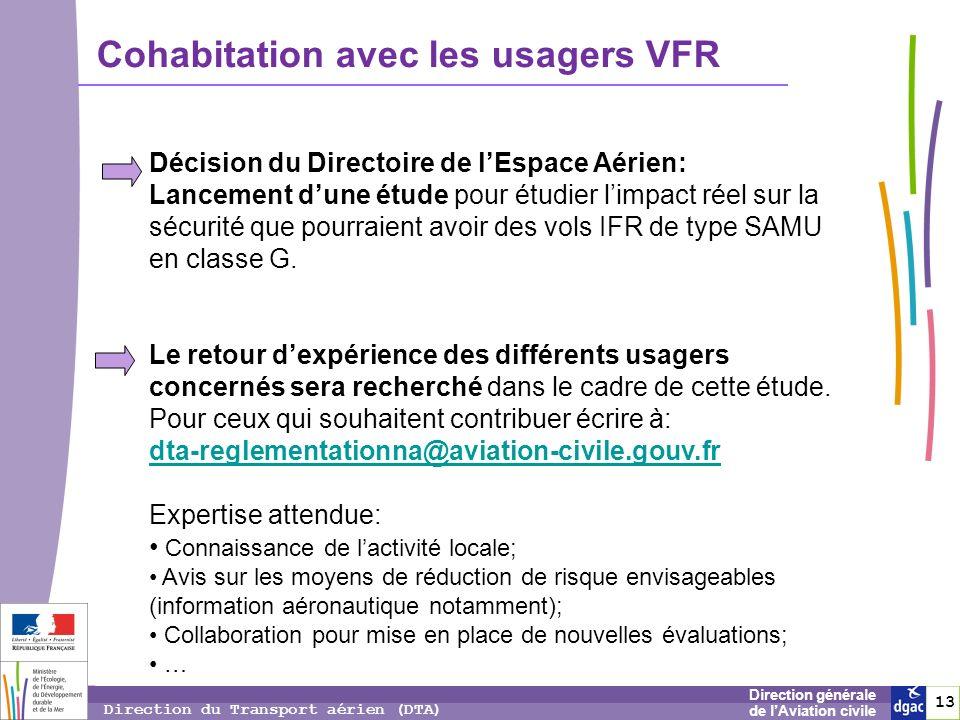 13 1313 Direction générale de lAviation civile Direction du Transport aérien (DTA) Cohabitation avec les usagers VFR Décision du Directoire de lEspace