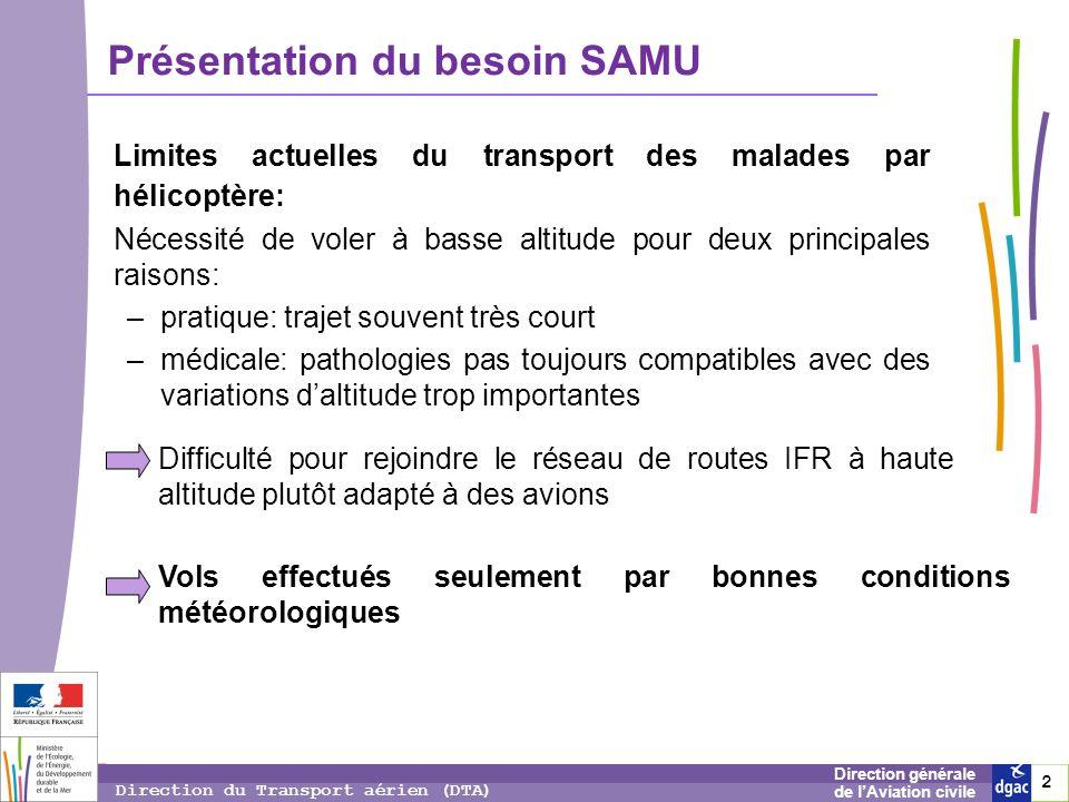 2 2 2 Direction générale de lAviation civile Direction du Transport aérien (DTA) Présentation du besoin SAMU Limites actuelles du transport des malade