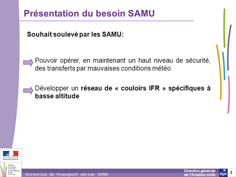 3 3 3 Direction générale de lAviation civile Direction du Transport aérien (DTA) Présentation du besoin SAMU Souhait soulevé par les SAMU: Pouvoir opé