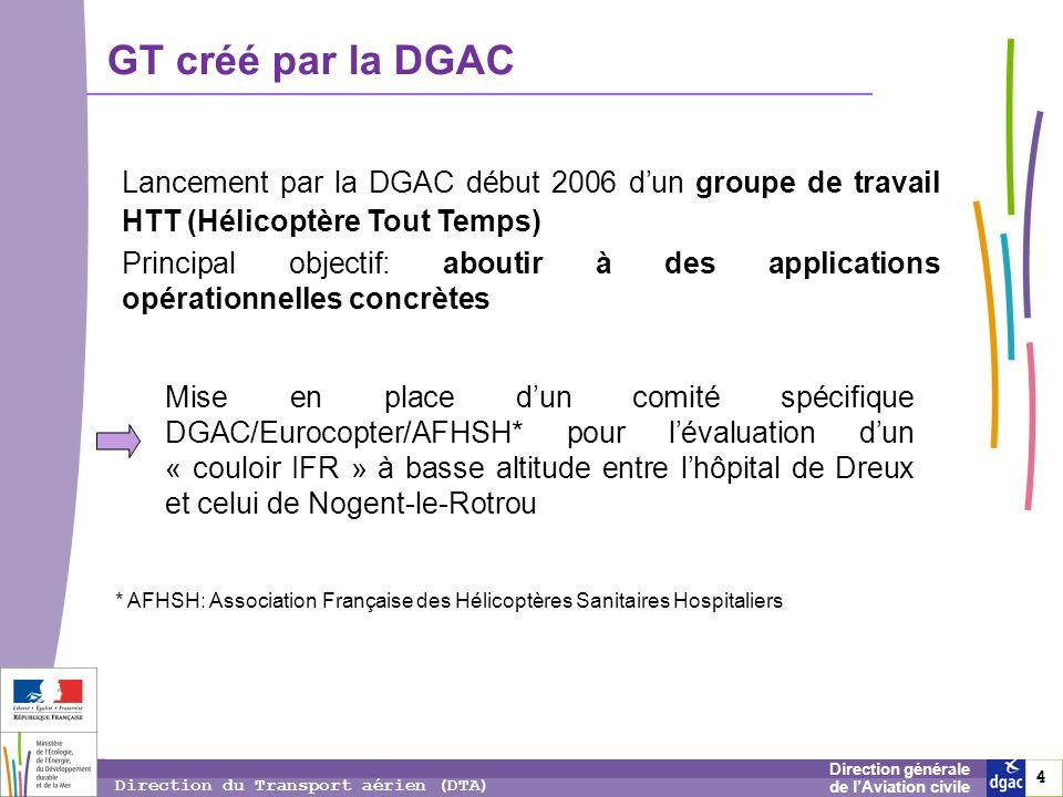 4 4 4 Direction générale de lAviation civile Direction du Transport aérien (DTA) GT créé par la DGAC Lancement par la DGAC début 2006 dun groupe de tr