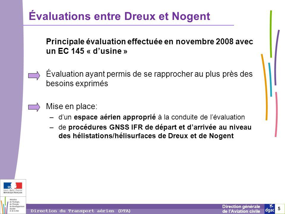 5 5 5 Direction générale de lAviation civile Direction du Transport aérien (DTA) Évaluations entre Dreux et Nogent Principale évaluation effectuée en