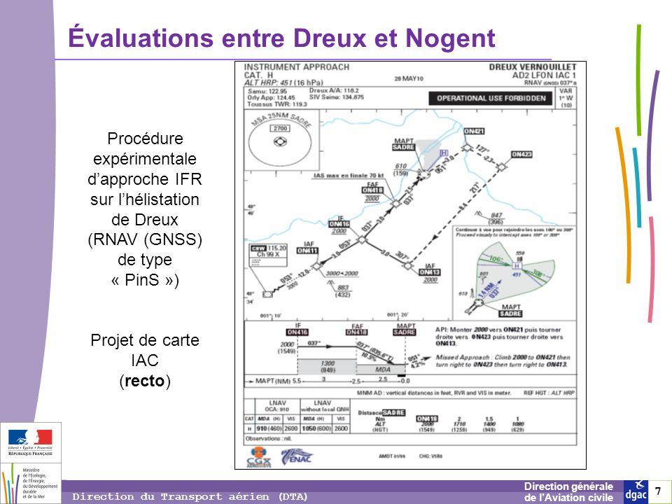 7 7 7 Direction générale de lAviation civile Direction du Transport aérien (DTA) Évaluations entre Dreux et Nogent Procédure expérimentale dapproche I