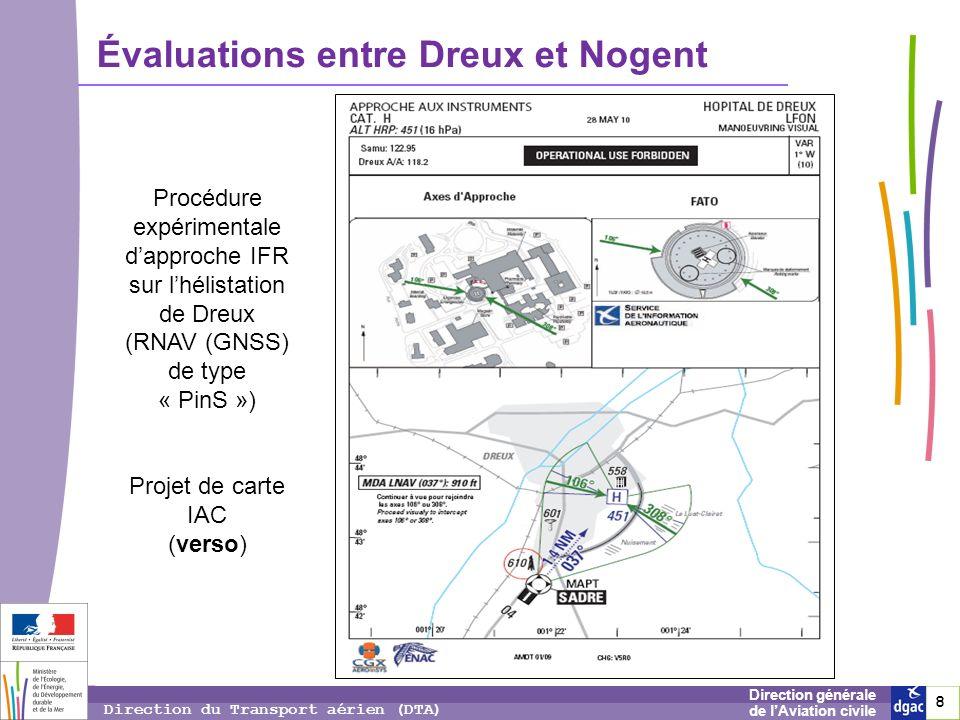 8 8 8 Direction générale de lAviation civile Direction du Transport aérien (DTA) Évaluations entre Dreux et Nogent Procédure expérimentale dapproche I