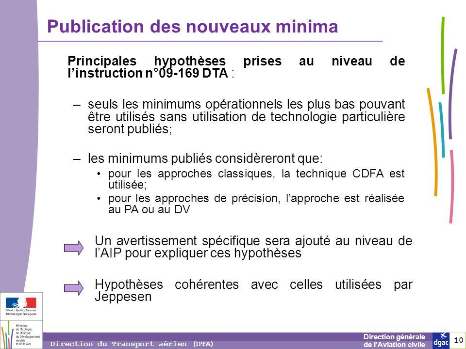 10 1010 Direction générale de lAviation civile Direction du Transport aérien (DTA) Publication des nouveaux minima Principales hypothèses prises au ni
