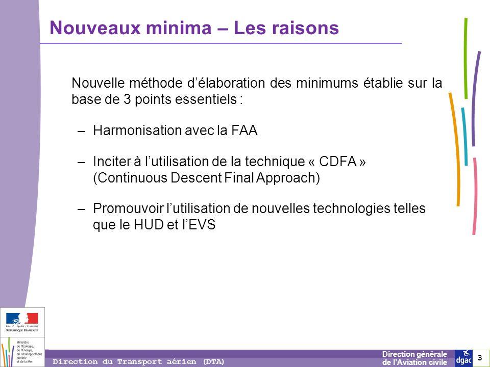 3 3 3 Direction générale de lAviation civile Direction du Transport aérien (DTA) Nouveaux minima – Les raisons Nouvelle méthode délaboration des minim