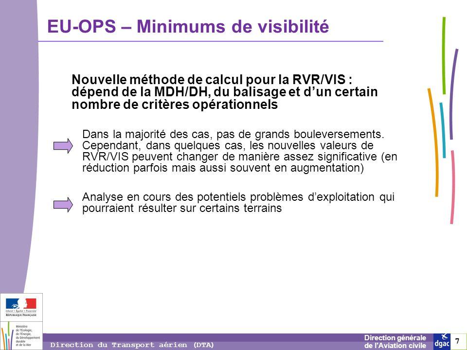 7 7 7 Direction générale de lAviation civile Direction du Transport aérien (DTA) EU-OPS – Minimums de visibilité Dans la majorité des cas, pas de gran