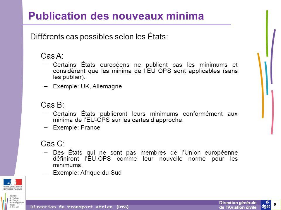 8 8 8 Direction générale de lAviation civile Direction du Transport aérien (DTA) Publication des nouveaux minima Différents cas possibles selon les Ét
