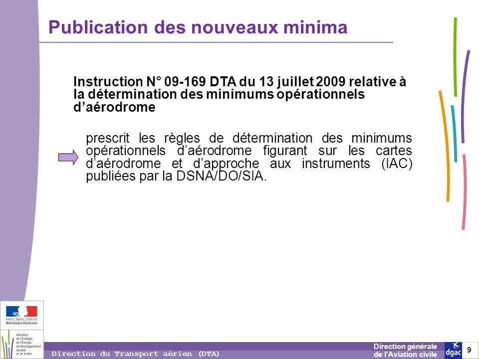 9 9 9 Direction générale de lAviation civile Direction du Transport aérien (DTA) Publication des nouveaux minima Instruction N° 09-169 DTA du 13 juill