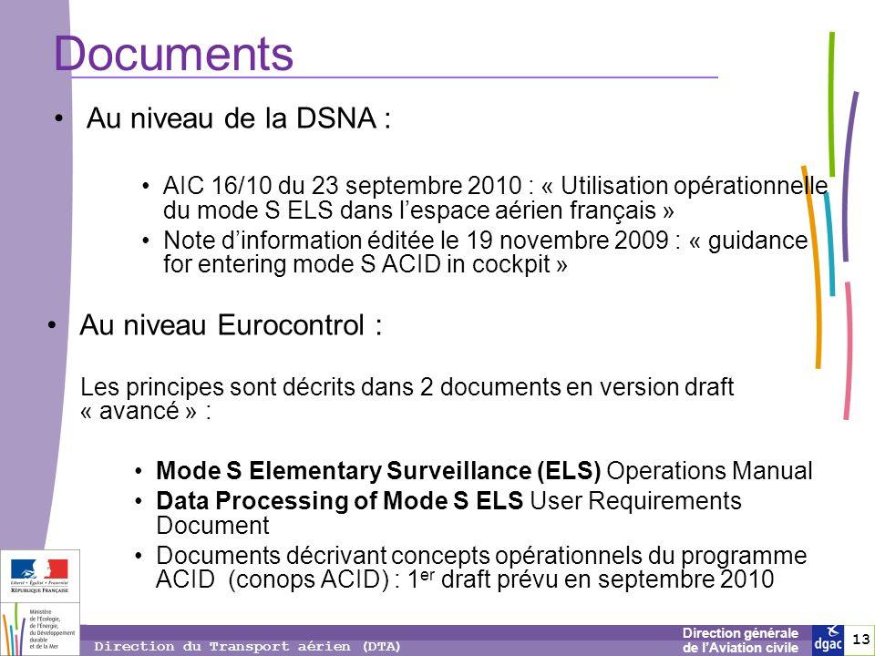 13 1313 Direction générale de lAviation civile Direction du Transport aérien (DTA) Documents Au niveau Eurocontrol : Les principes sont décrits dans 2