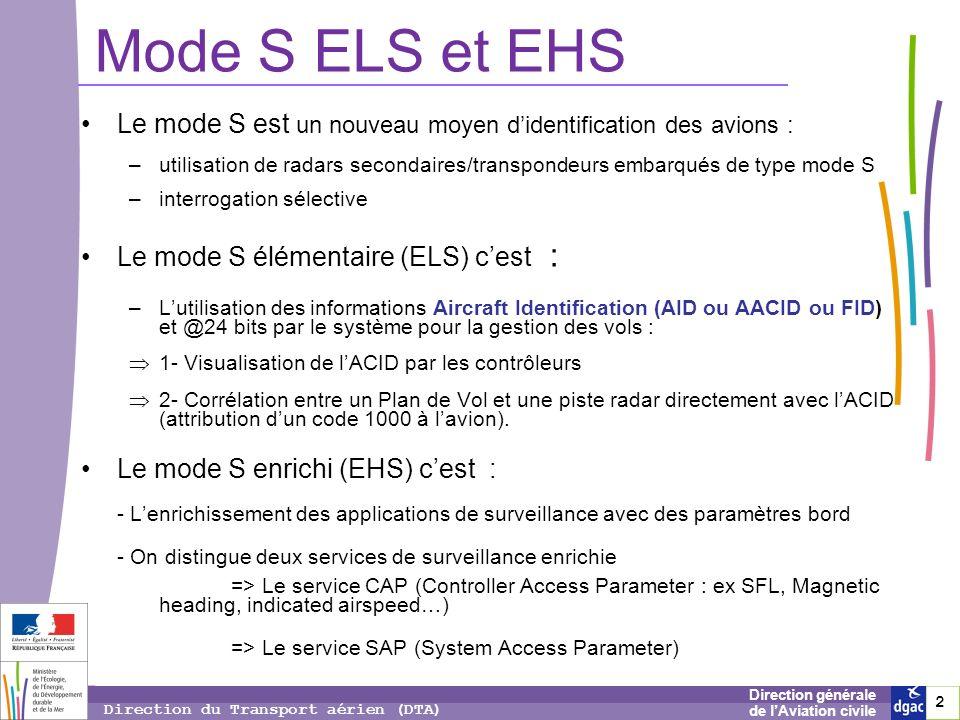 2 2 2 Direction générale de lAviation civile Direction du Transport aérien (DTA) Mode S ELS et EHS Le mode S est un nouveau moyen didentification des