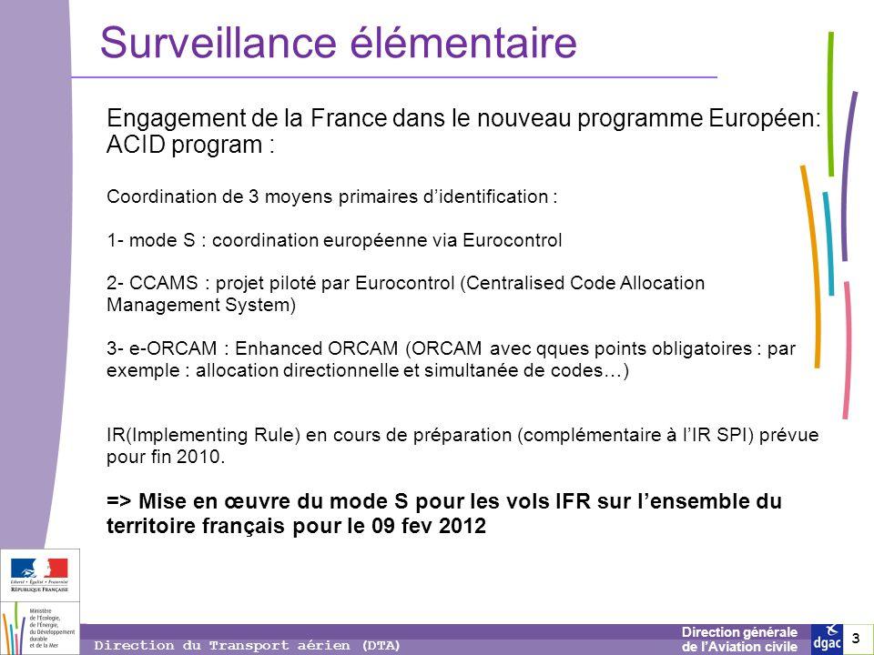 3 3 3 Direction générale de lAviation civile Direction du Transport aérien (DTA) Surveillance élémentaire Engagement de la France dans le nouveau prog