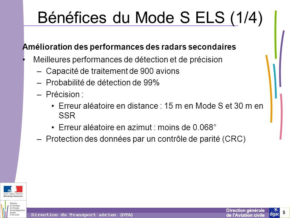 5 5 5 Direction générale de lAviation civile Direction du Transport aérien (DTA) Bénéfices du Mode S ELS (1/4) Amélioration des performances des radar