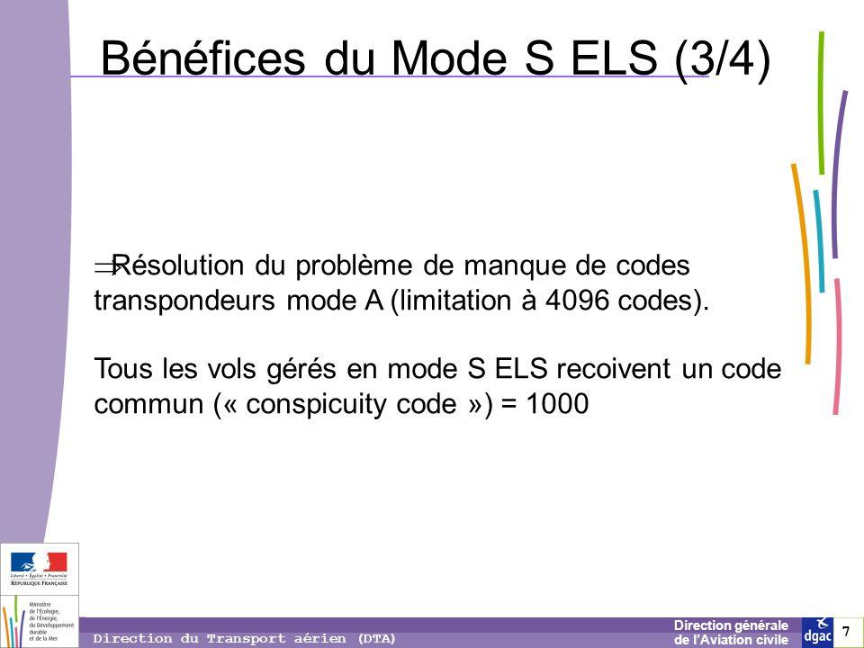 7 7 7 Direction générale de lAviation civile Direction du Transport aérien (DTA) Bénéfices du Mode S ELS (3/4) Résolution du problème de manque de cod