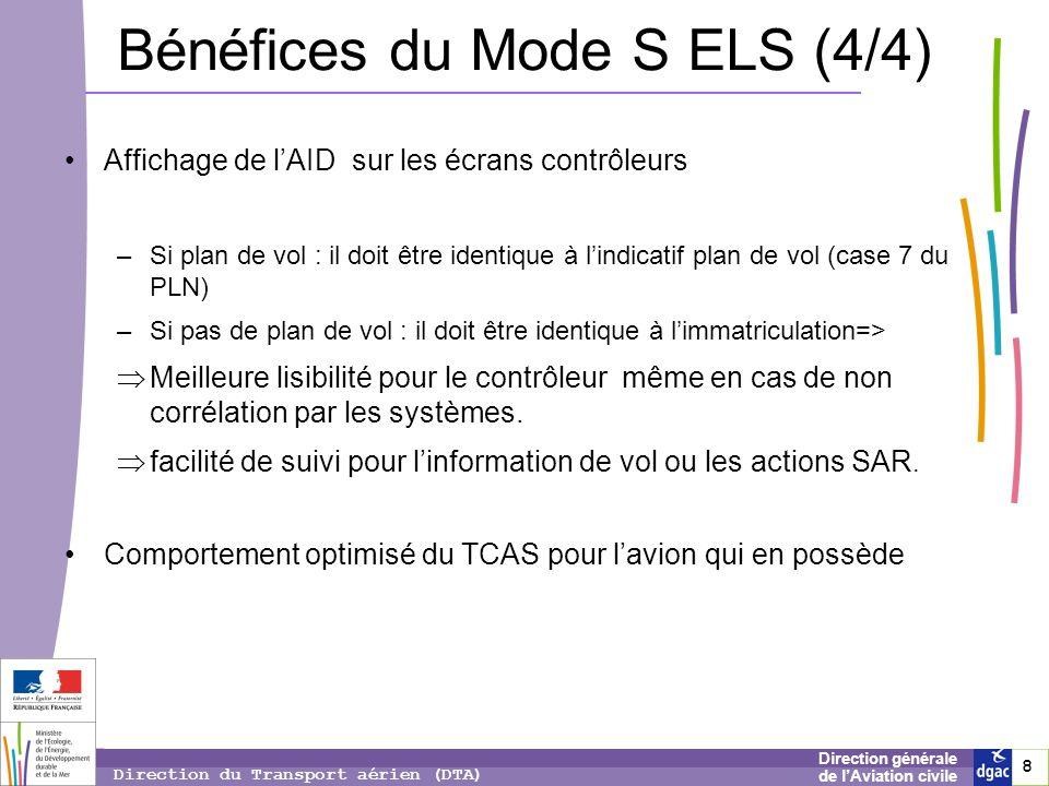 8 8 8 Direction générale de lAviation civile Direction du Transport aérien (DTA) Bénéfices du Mode S ELS (4/4) Affichage de lAID sur les écrans contrô
