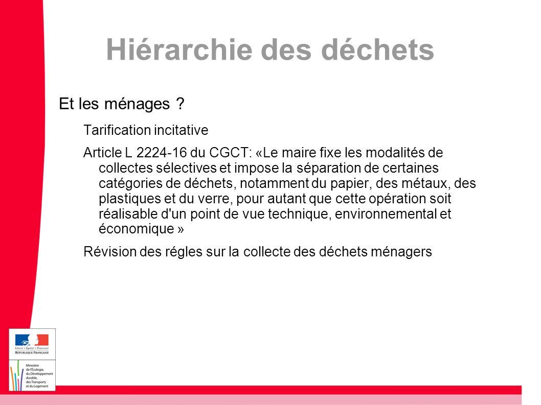 Hiérarchie des déchets Et les ménages ? Tarification incitative Article L 2224-16 du CGCT: «Le maire fixe les modalités de collectes sélectives et imp