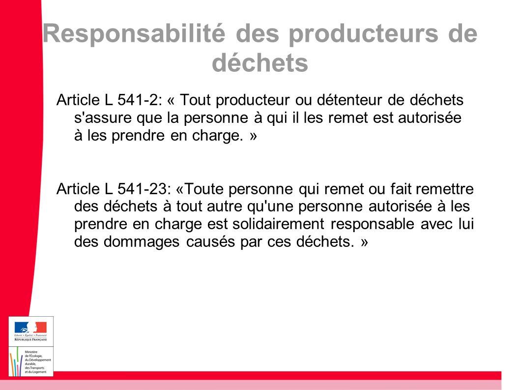 Responsabilité des producteurs de déchets Article L 541-2: « Tout producteur ou détenteur de déchets s'assure que la personne à qui il les remet est a