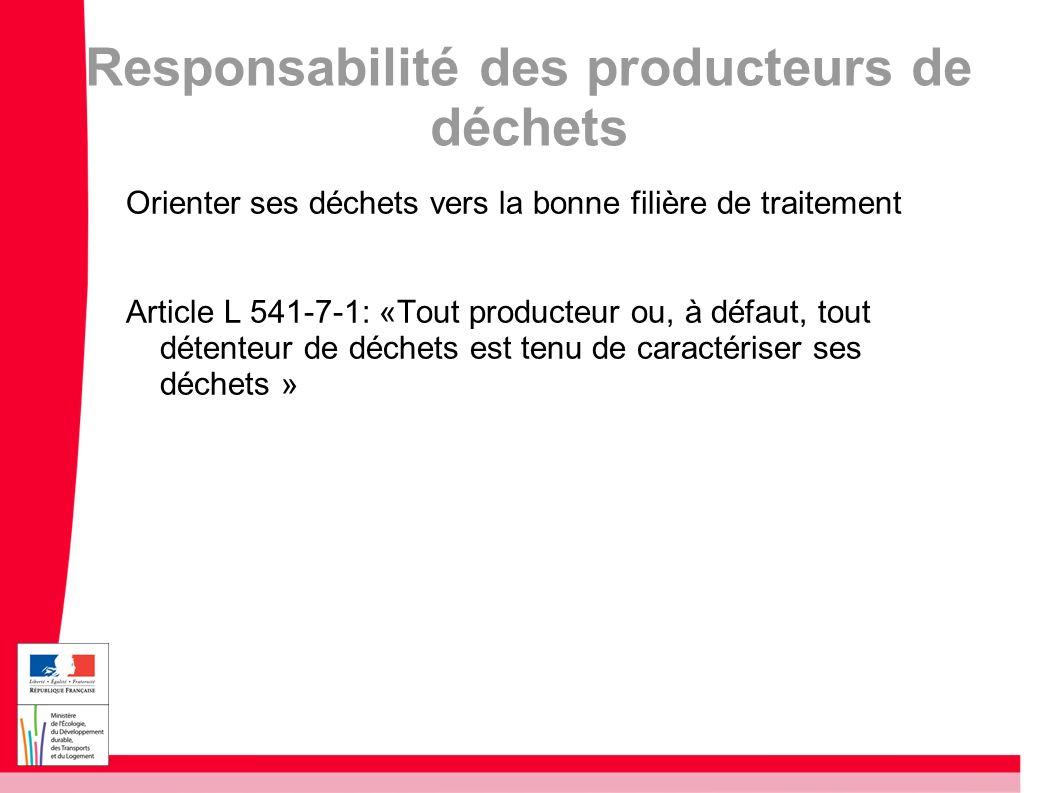 Responsabilité des producteurs de déchets Orienter ses déchets vers la bonne filière de traitement Article L 541-7-1: «Tout producteur ou, à défaut, t
