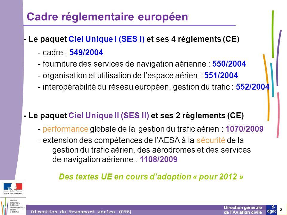 2 2 2 Direction générale de lAviation civile Direction du Transport aérien (DTA) Cadre réglementaire européen - Le paquet Ciel Unique I (SES I) et ses