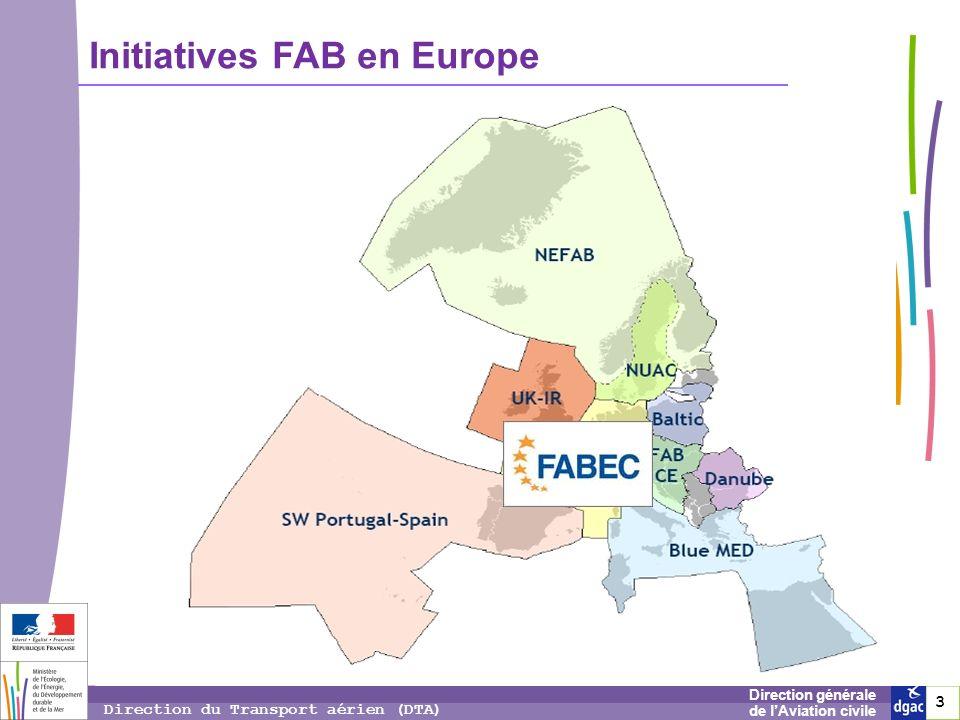 3 3 3 Direction générale de lAviation civile Direction du Transport aérien (DTA) Initiatives FAB en Europe
