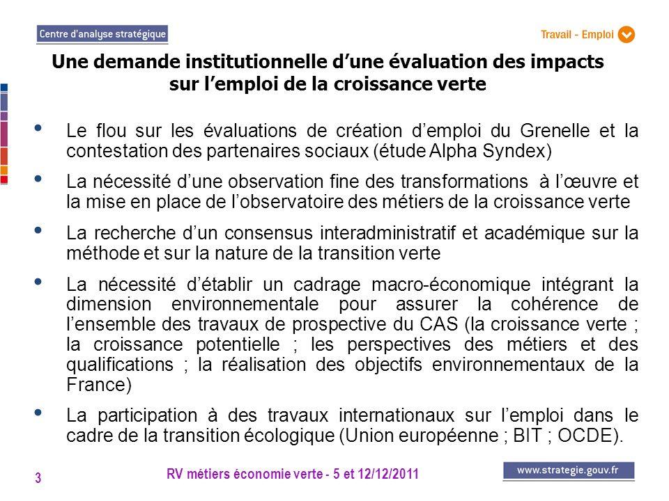 RV métiers économie verte - 5 et 12/12/2011 3 Le flou sur les évaluations de création demploi du Grenelle et la contestation des partenaires sociaux (