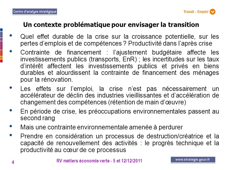 RV métiers économie verte - 5 et 12/12/2011 4 Quel effet durable de la crise sur la croissance potentielle, sur les pertes demplois et de compétences