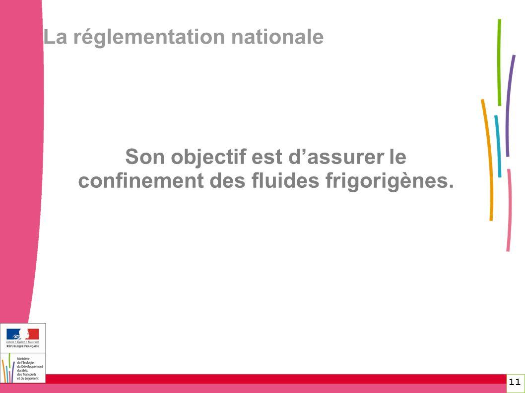 La réglementation nationale 11 Son objectif est dassurer le confinement des fluides frigorigènes.