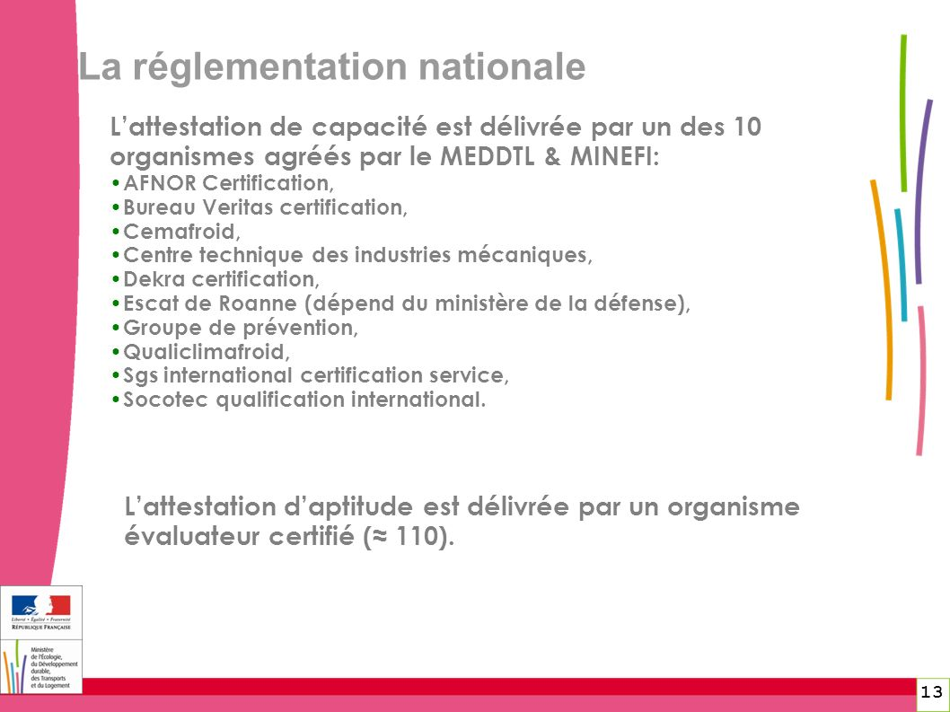 La réglementation nationale 13 Lattestation de capacité est délivrée par un des 10 organismes agréés par le MEDDTL & MINEFI: AFNOR Certification, Bure
