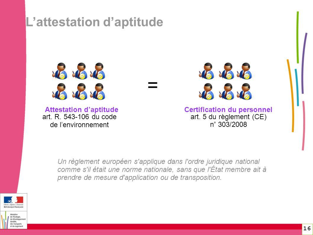 Lattestation daptitude Attestation daptitude art. R. 543-106 du code de lenvironnement art. 5 du règlement (CE) n° 303/2008 Certification du personnel