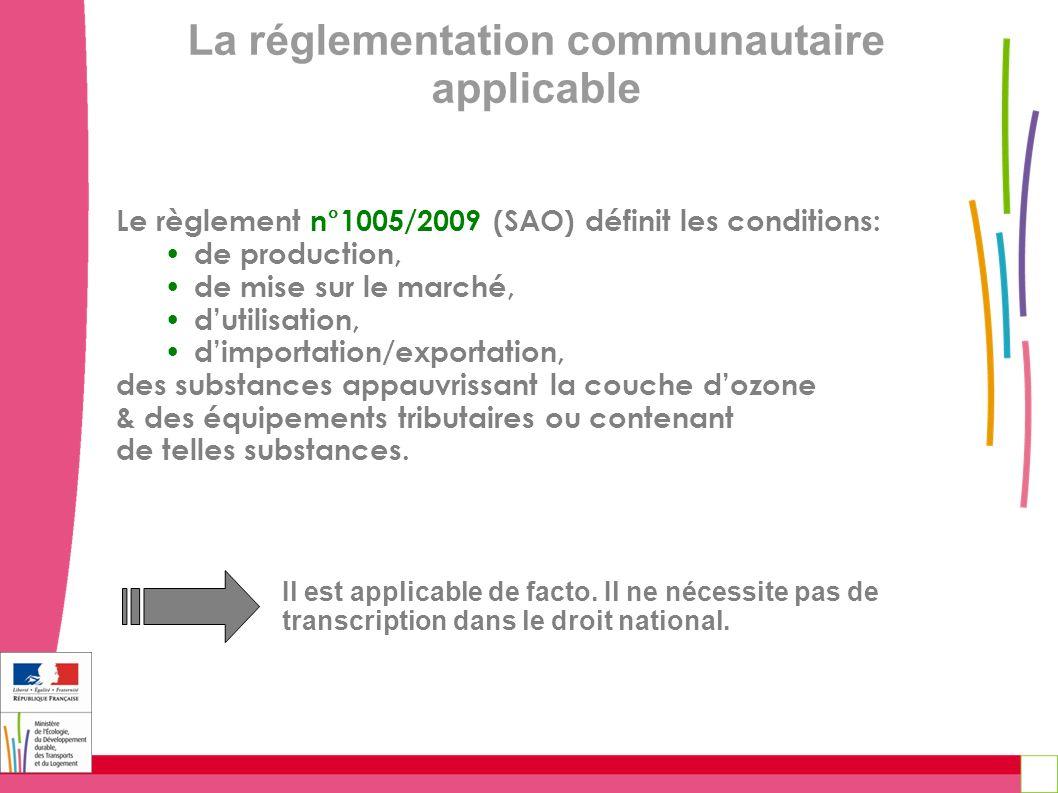 La réglementation communautaire applicable Le règlement n°1005/2009 (SAO) définit les conditions: de production, de mise sur le marché, dutilisation,