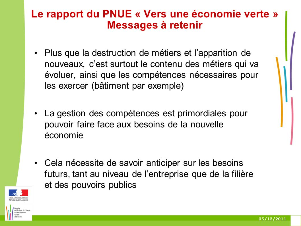 05/12/2011 Le rapport du PNUE « Vers une économie verte » Messages à retenir Plus que la destruction de métiers et lapparition de nouveaux, cest surto