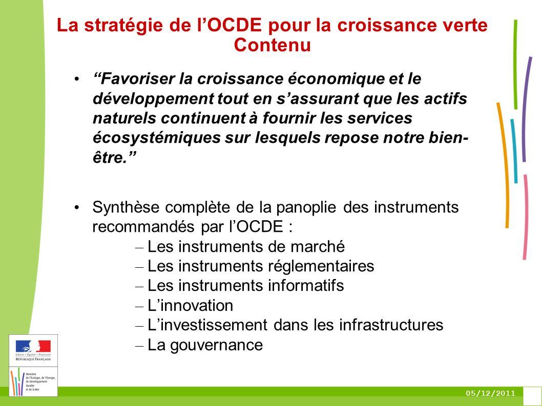05/12/2011 La stratégie de lOCDE pour la croissance verte Contenu Favoriser la croissance économique et le développement tout en sassurant que les act