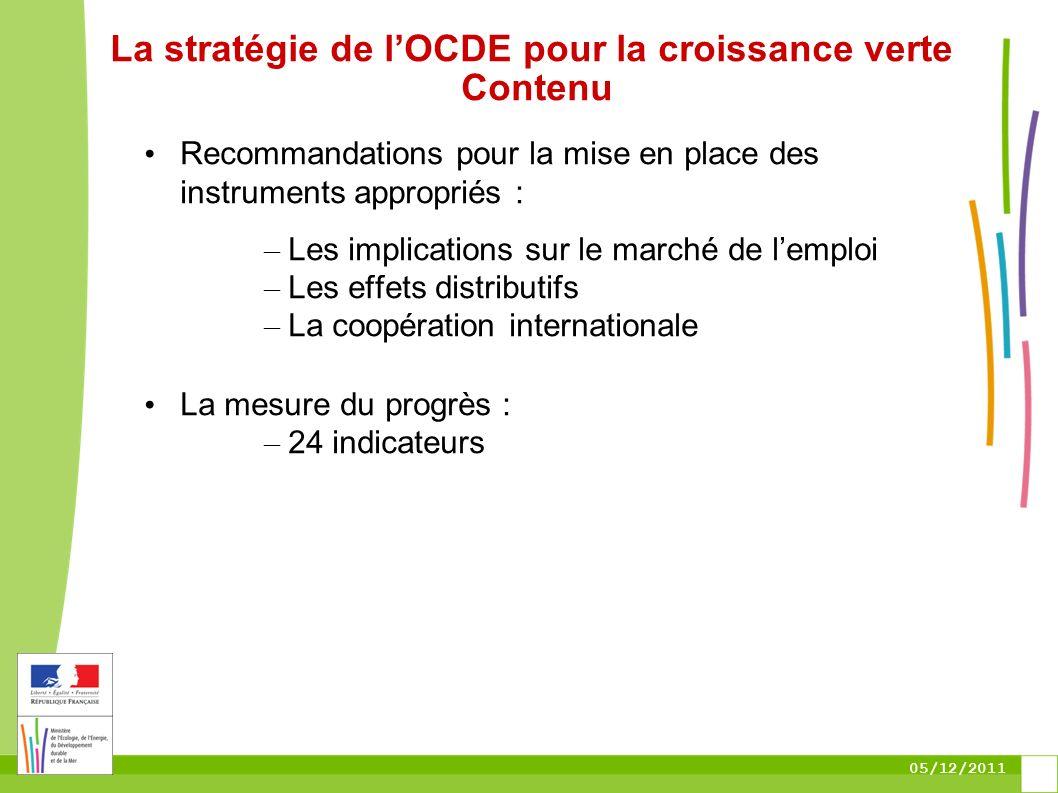 05/12/2011 La stratégie de lOCDE pour la croissance verte Contenu Recommandations pour la mise en place des instruments appropriés : – Les implication