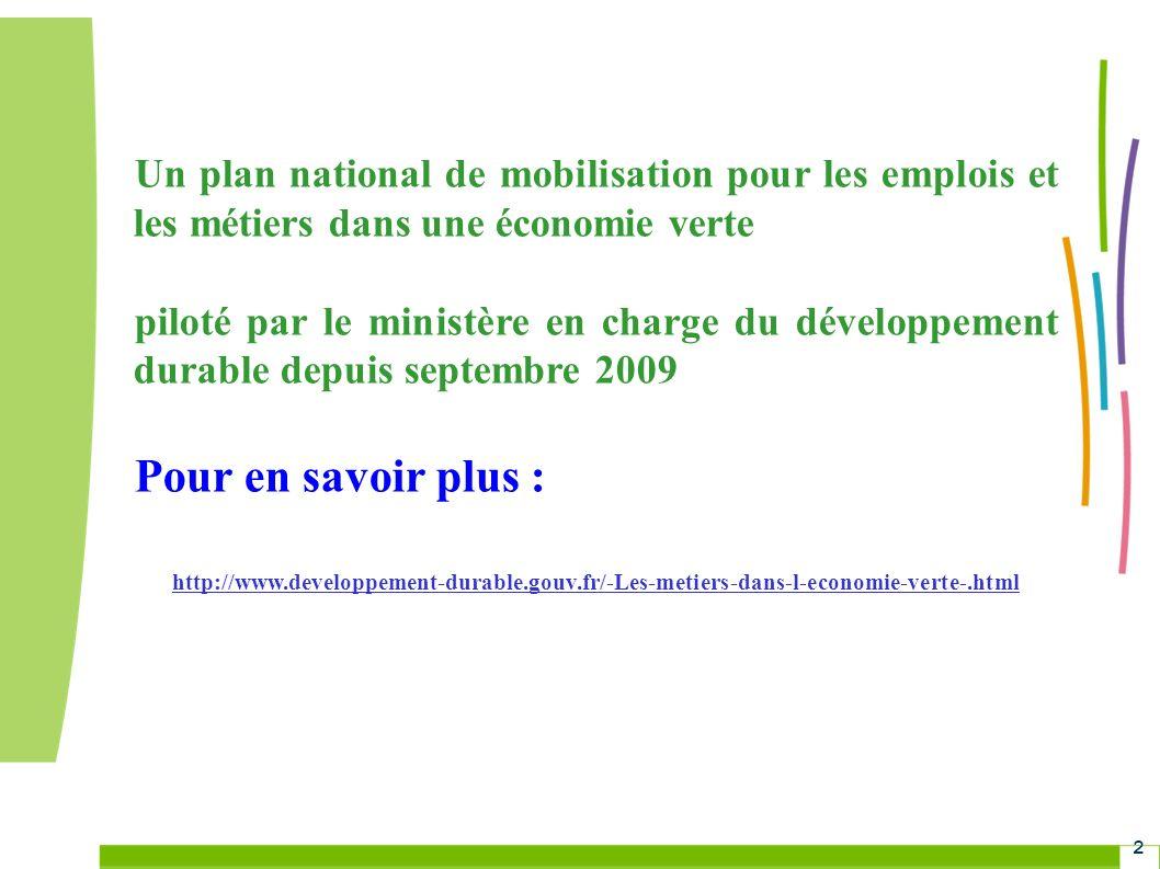 Grenelle Environnement 3 Objectif du plan Adapter les compétences aux réalités et perspectives de léconomie verte (et donc le marché de lemploi, les services de la formation et de lorientation…)