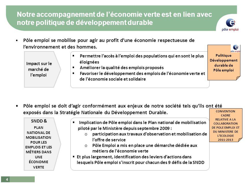 4 Notre accompagnement de léconomie verte est en lien avec notre politique de développement durable Pôle emploi se mobilise pour agir au profit dune économie respectueuse de lenvironnement et des hommes.